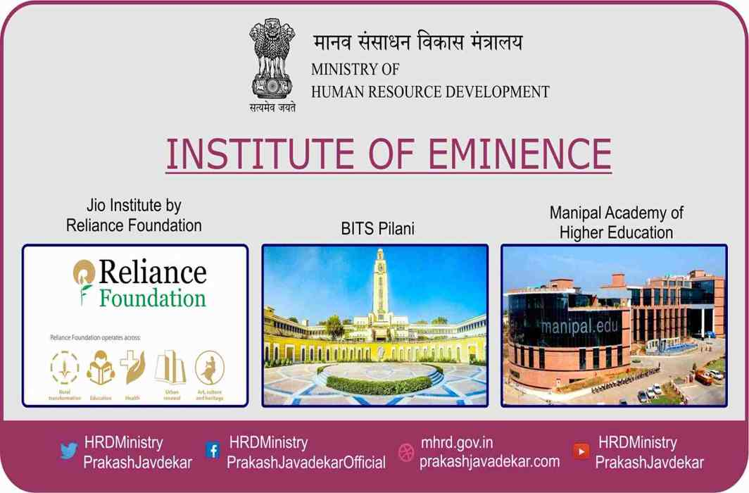 Govt names six universities Institutions of Eminence, proposed Jio Institute among them
