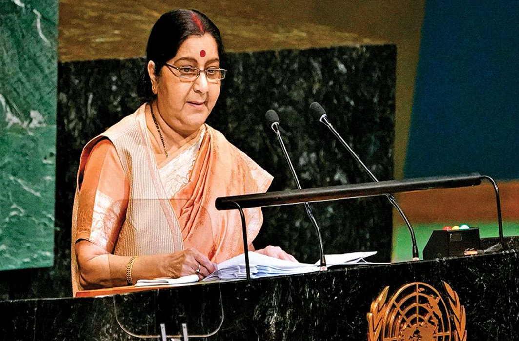 Sushma Swaraj: India can't talk when Pakistan promotes Terror