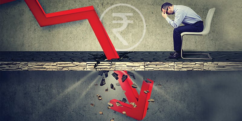 Rupee falling towards 75 a dollar, markets crash further while RBI keeps interest rate unchanged
