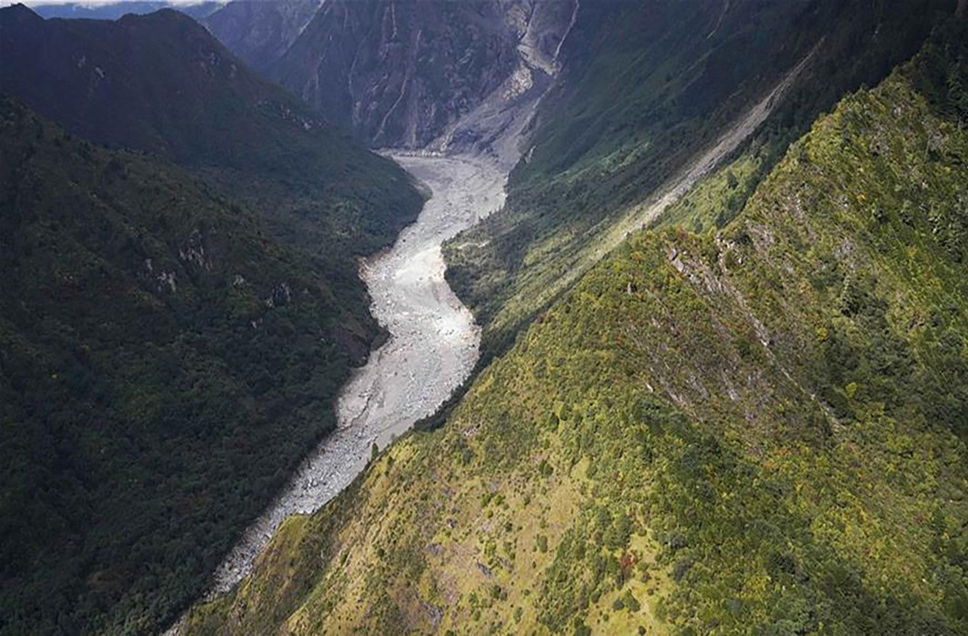 Lower reaches of Yarlung Tsangpo river after landslide blocked flow and created artificial lake upstream