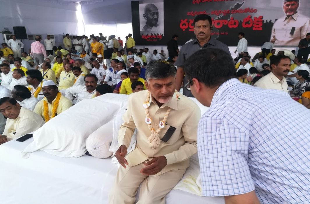 Opposition rallies behind Andhra CM Naidu as he sits on a day-long fast for spl status to his state
