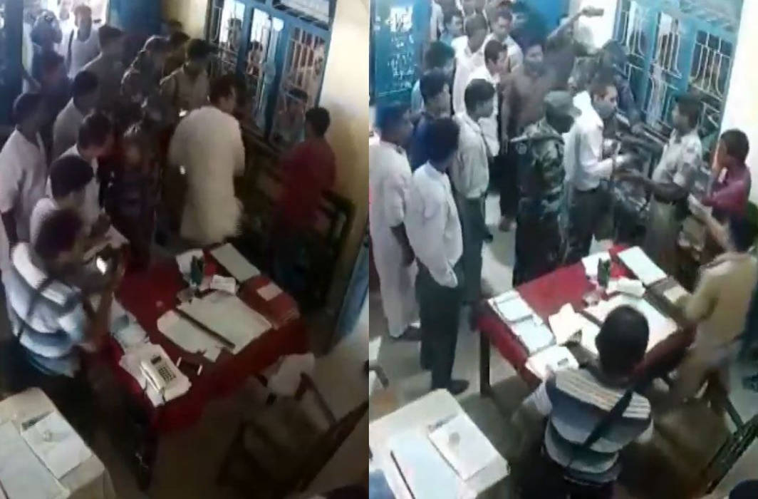 Tripura Congress chief slaps an IPFT supporter inside police station for attacking his sister's convoy