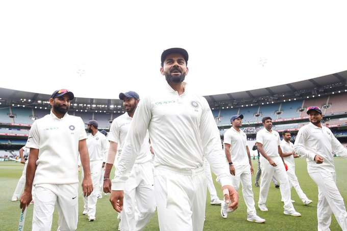 Indian skipper Virat Kohli leads his team.
