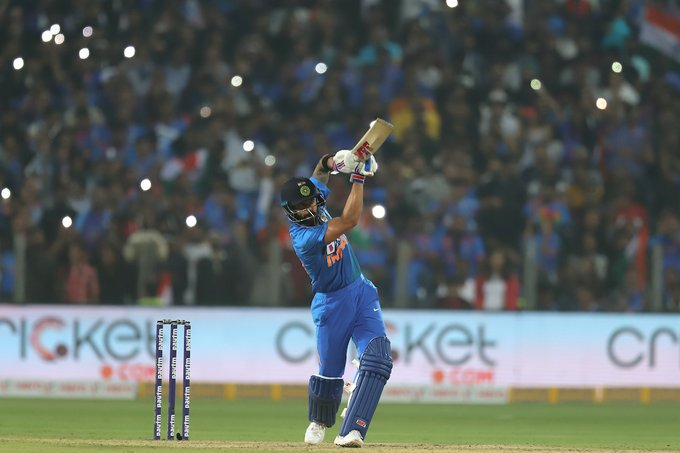 Virat Kohli plays a shot against Sri Lanka.