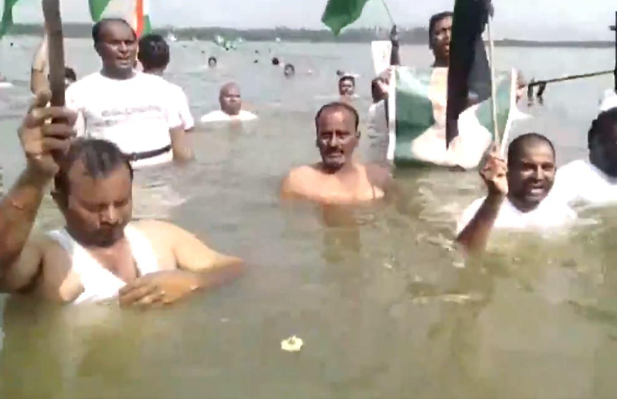 Protest at Krishna river, Andhra Pradesh