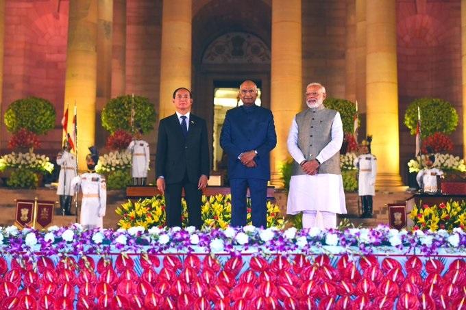 Myanmar President U Win Myint with President Ram Nath Kovind and Prime Minister Narendra Modi.