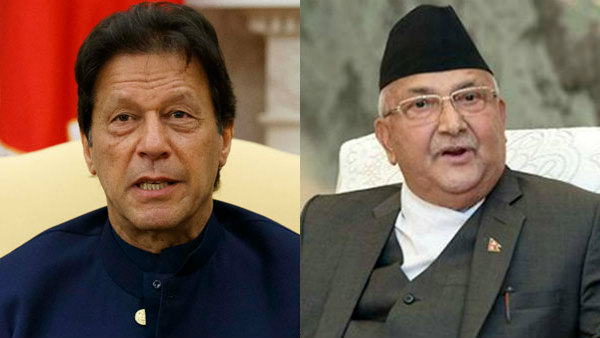 Pakistan PM Imran Khan and Nepal PM K.P. Sharma Oli