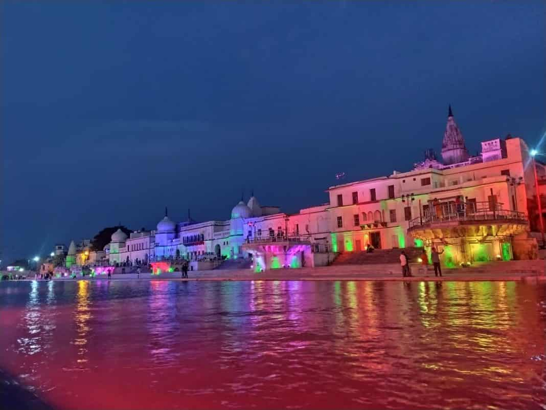 A decorated bank of the Sarayu river on Tuesday. (Picture APN)