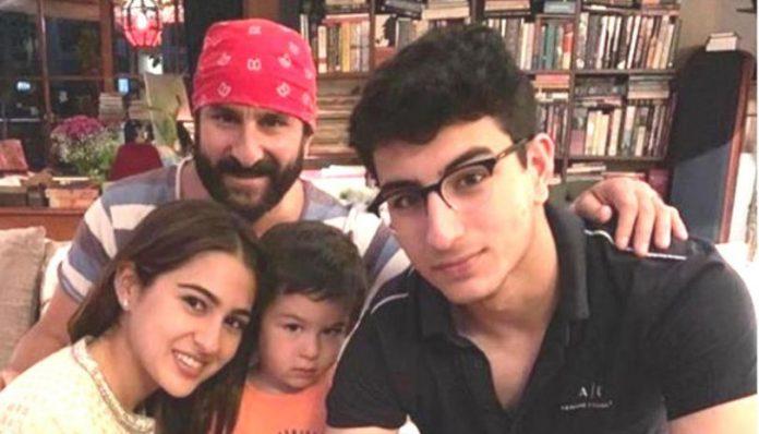 Saif Ali khan with his son Ibrahim Ali Khan and Taimur
