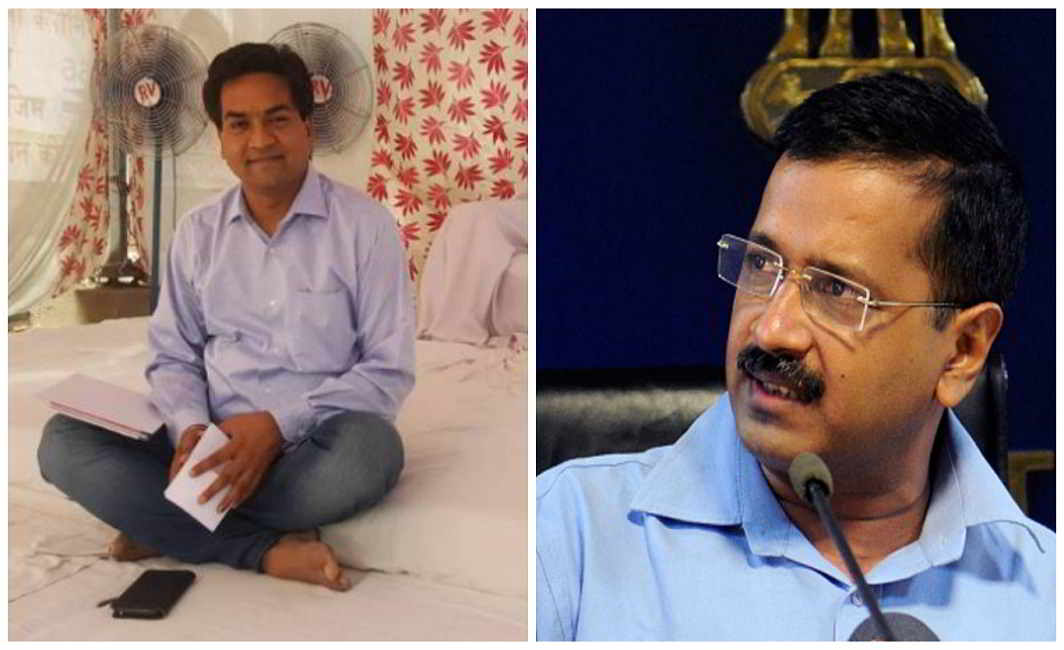 Former minister of AAP Kapil Mishra sitting on hunger strike