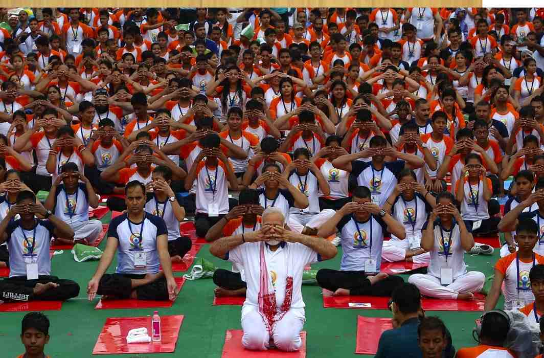 International Yoga Day has held in Ramabai Ambedkar ground in Lucknow and Ahmedabad.