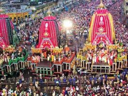 Celebration of Lord Jagannath's Rath Yatra in Jagannath Puri
