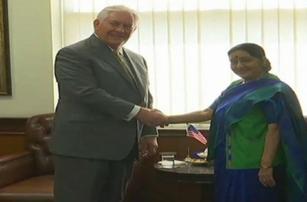 american foreign minister rex tillerson arrived in india and meating with Sushma