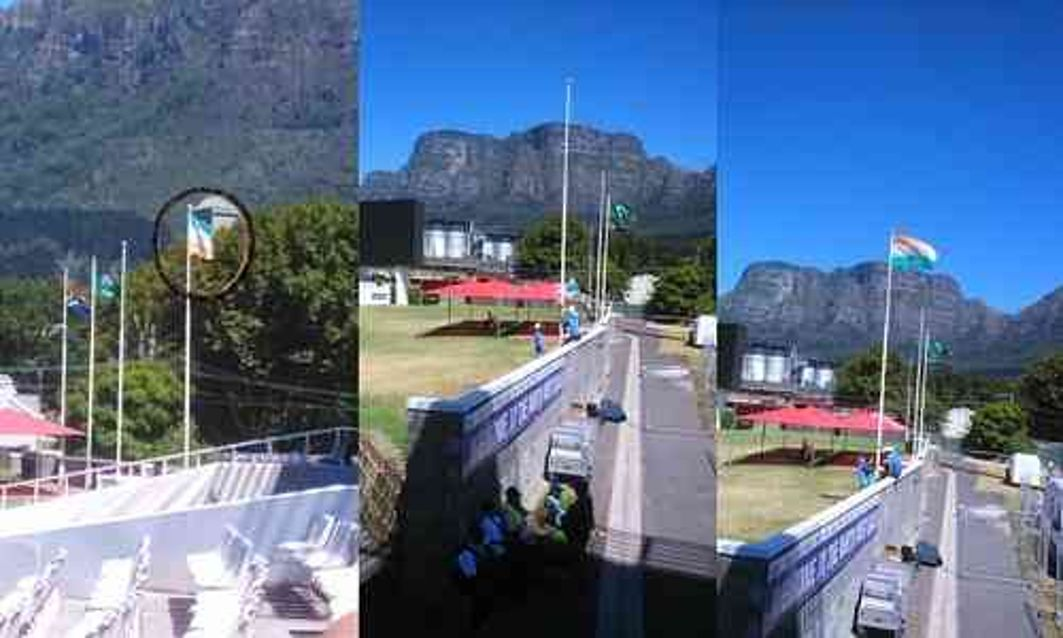 Embarrassing:Indian flag hoisted wrongly in Cape Town until 2 hours