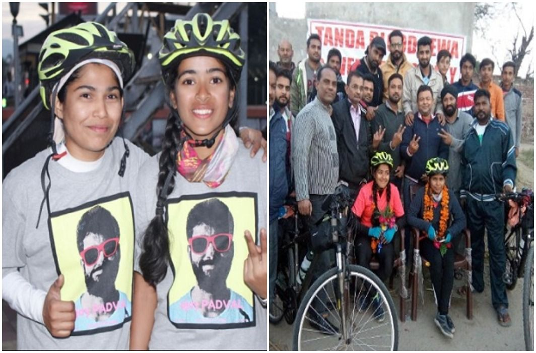 Salute to two daughters of the Initiative,Kashmir to kanyakumari distance has traveled by bicycle