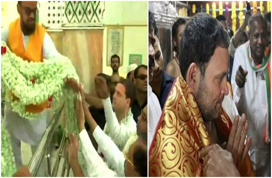 In the Karnataka elections, Rahul Gandhi also visit temple,Black Flags in Road Show