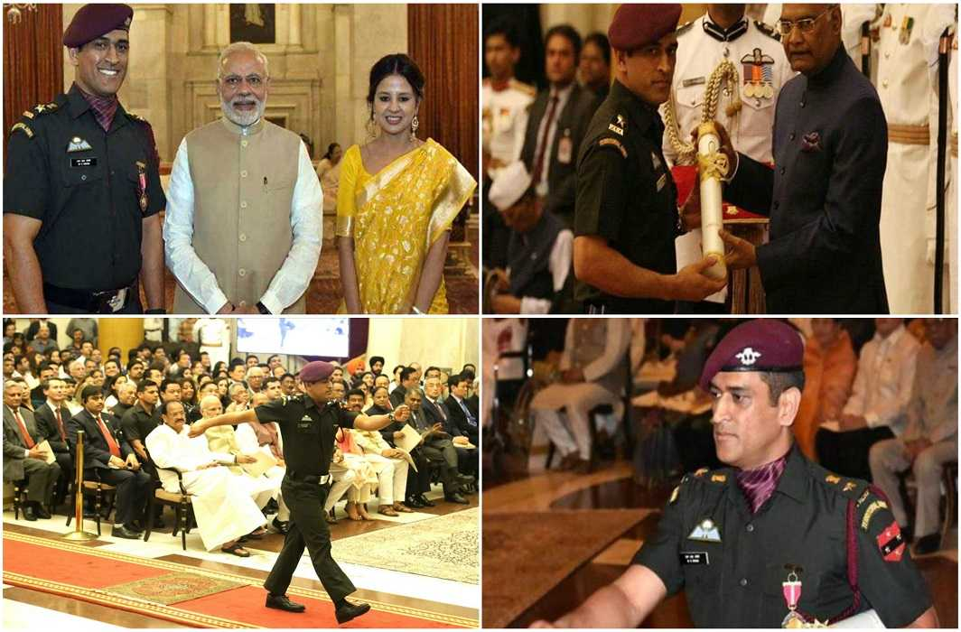 Dhoni receives Padma Bhushan award in military avatar
