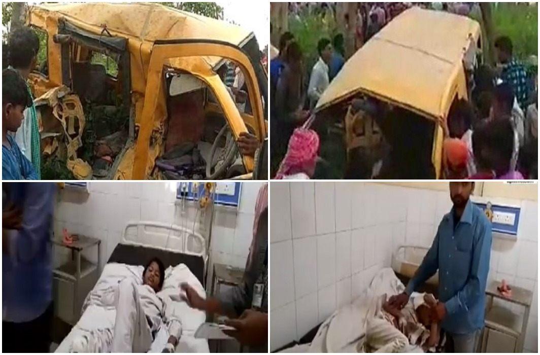 Train and school van collision On unmanned crossings In Kushinagar of UP. 13 children has die
