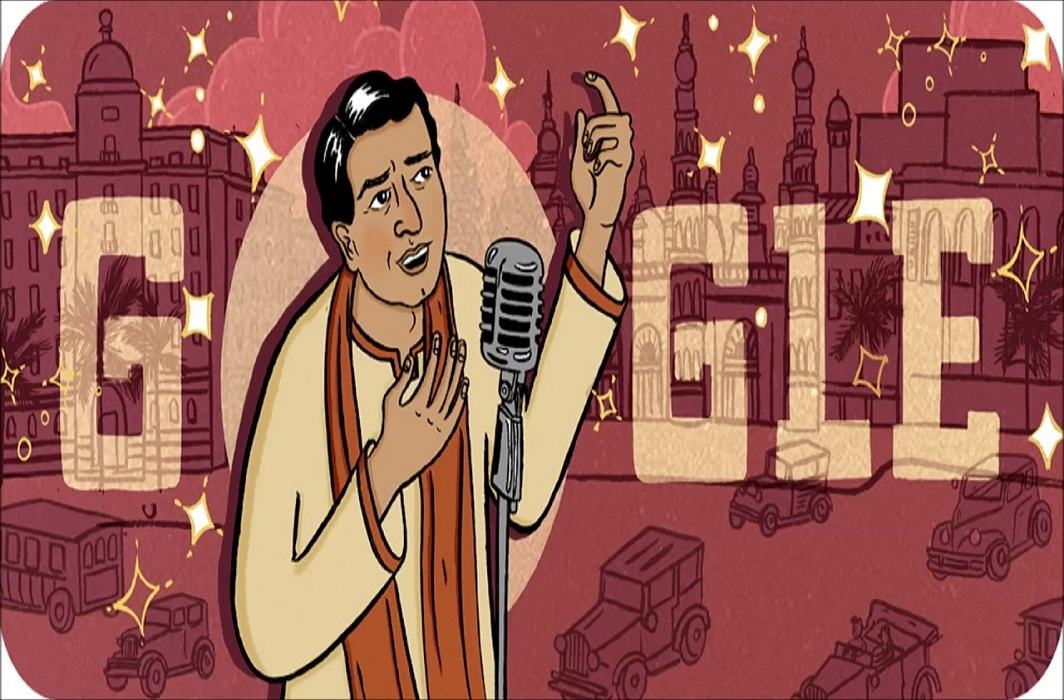 Google gave tribute by doodo on the 114th anniversay of first indian superstar K L sehgal