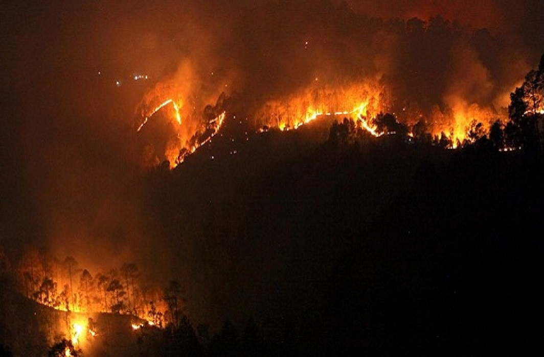 When will the forest fire in Pauri stretch 7 kilometers?