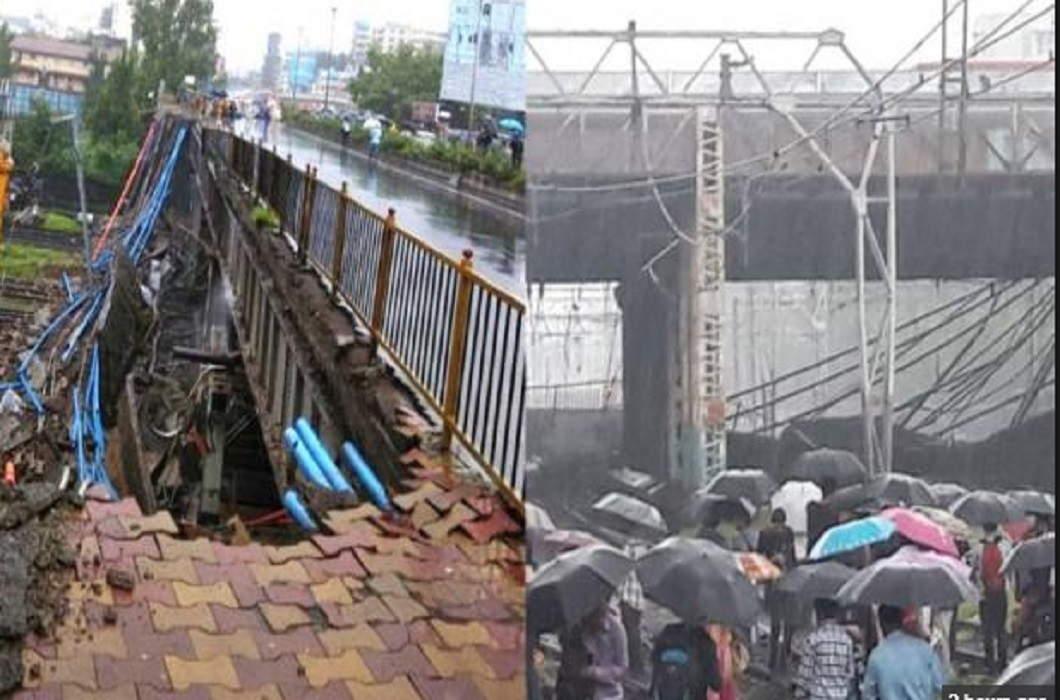 Heavy rains hit Mumbai, a part of the Railway Bridge dropped in Andheri, 5 injured