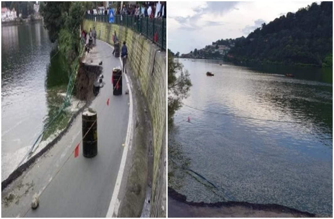 Sanyua Mall Road in the lake in Nainital, traffic interrupted