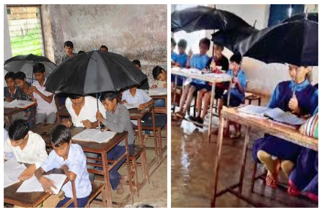 The condition of the primary school is worsened, children are forced to read under the umbrella