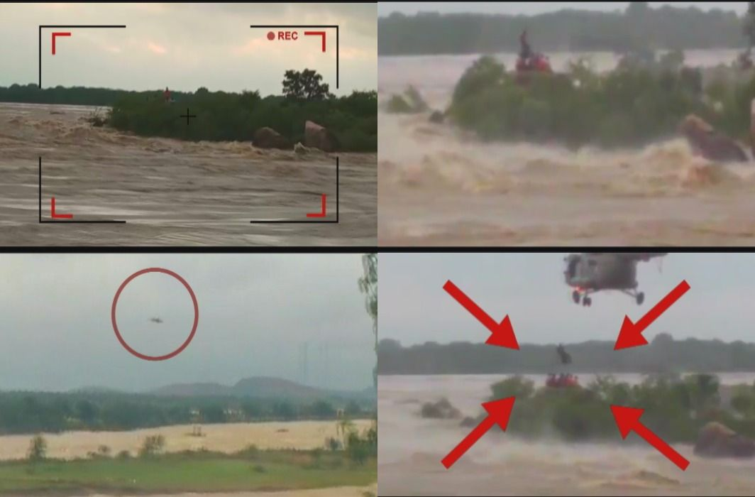 Airlift has saved 6 people stranded in waves in Lalitpur