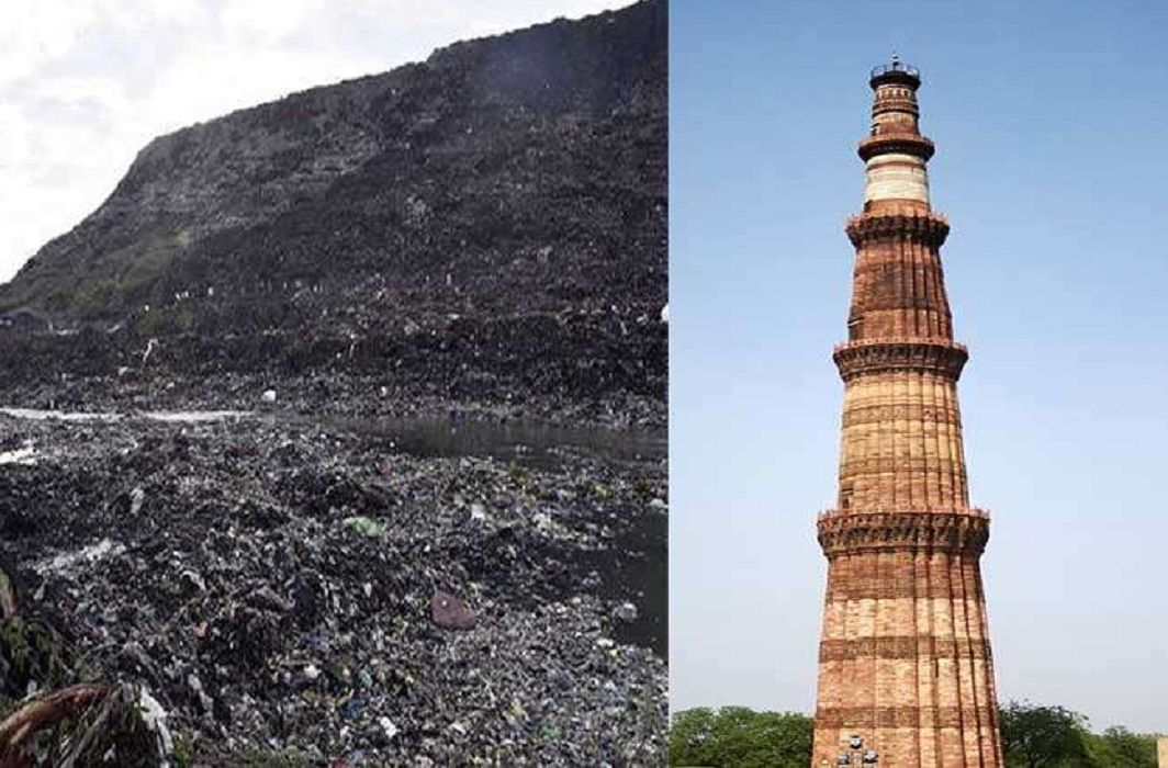 height of the garbage mountain in Ghazipur is now only 8 meters less than Kutub Minar in delhi