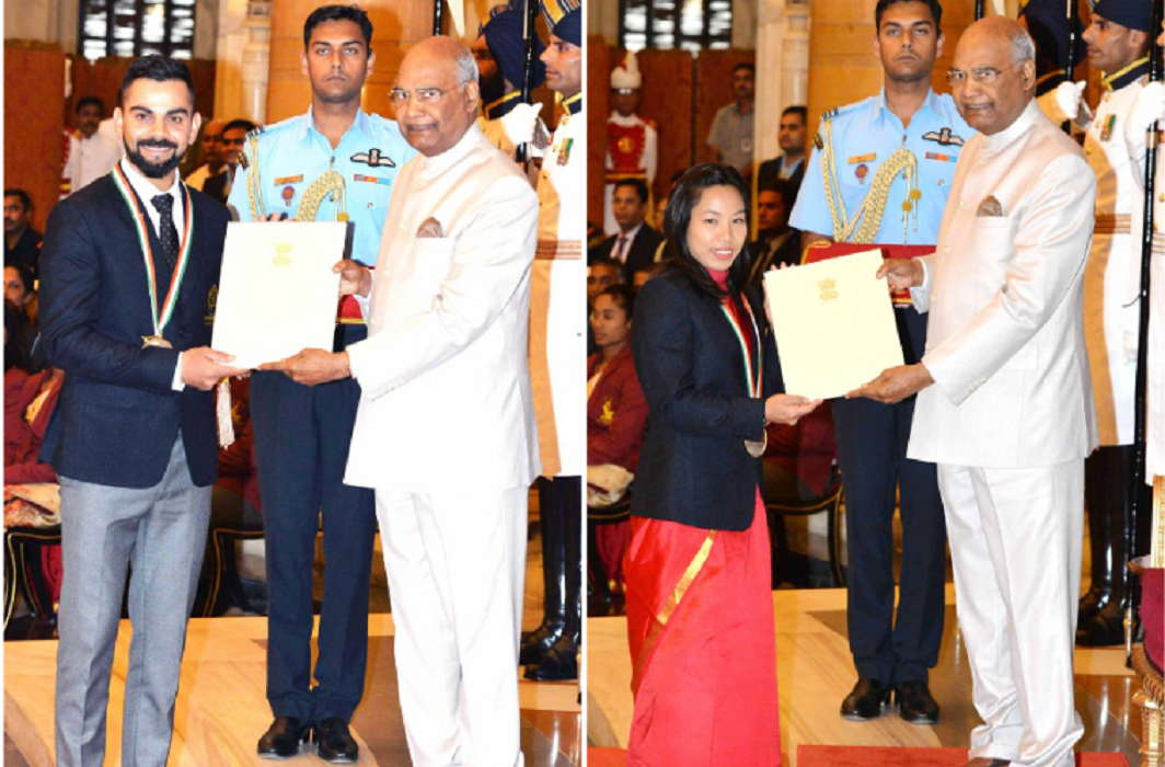 Virat Kohli and Meerabai Chanu got Rajiv Gandhi Khel Ratna and honored by President