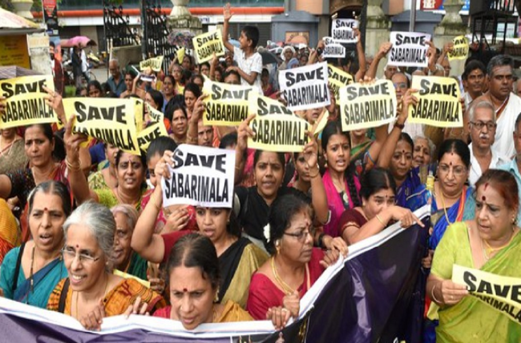 Women protesting against entry of women in Sabarimala Temple