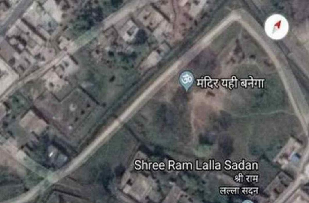 'Mandir yahi banega' marker appears on Google Maps