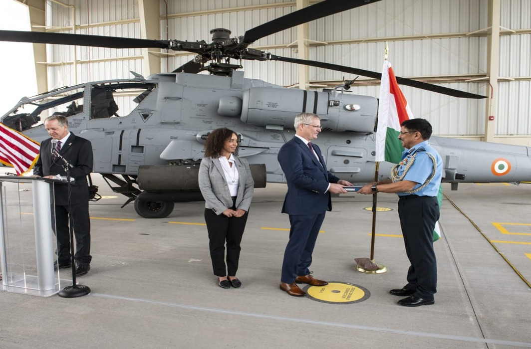 Indian Air Force (IAF) receives first Apache Guardian attack helicopter