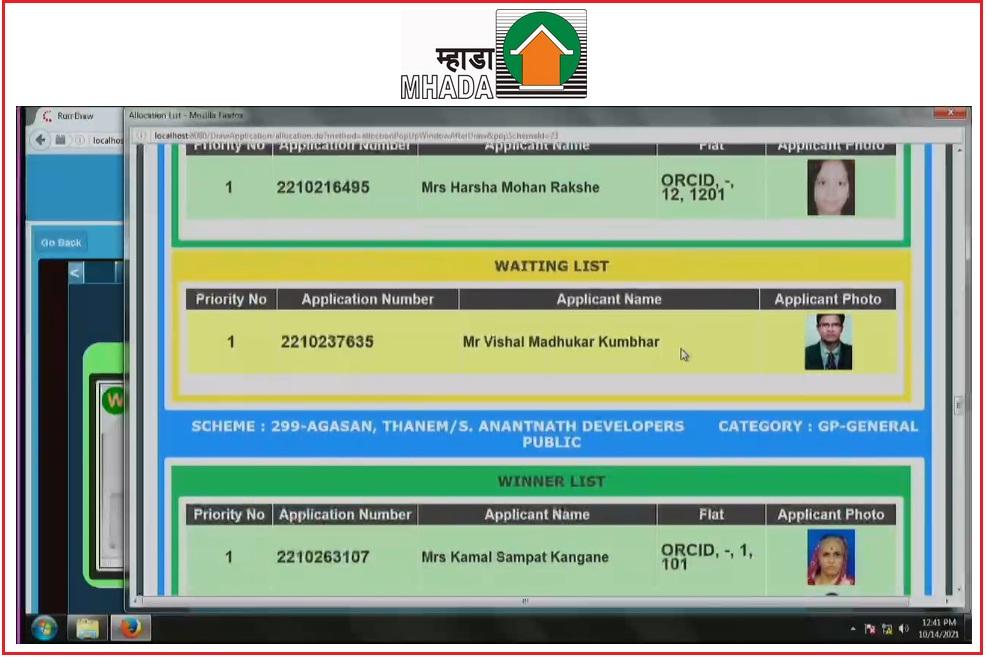 MHADA Lottery Konkan Board 2021 Result