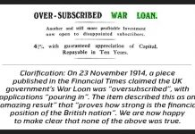 Financial Times, funds, British government, FT, World War I, apology, clarification